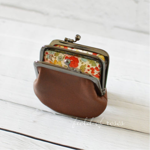 Coin Purse Brown Distressed Leather with Liberty of London Lining 2 Compartment