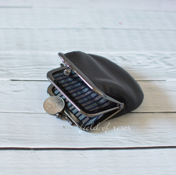 2 Compartment Coin Purse Black Leather with Silk Stripe Lining Handmade