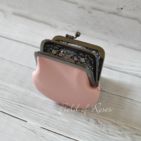 Coin Purse Light Pink Leather with Liberty of London Lining 2 Compartment