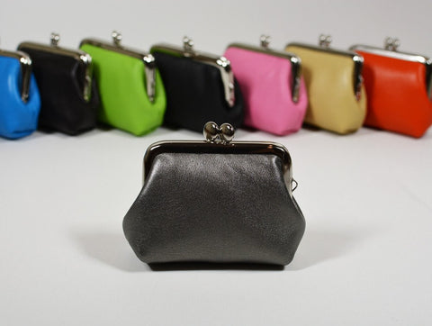 Small Leather Coin Purse Square Silver Metal Earbud Holder Rosary Case