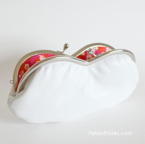 Sunglasses Eyeglasses Case Snow White Leather with Liberty of London Lining Floral Handmade
