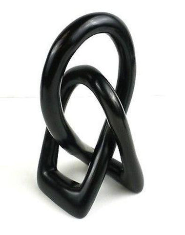 Natural Soapstone 6-inch Lover's Knot in Black Handmade and Fair Trade