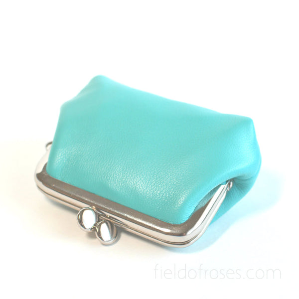 Small Leather Coin Purse Square Baby Blue Earbud Holder Rosary Case Handmade