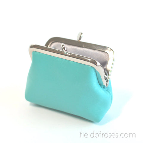 Small Leather Coin Purse Square Baby Blue Earbud Holder Rosary Case