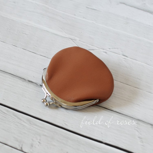 Small Leather Coin Purse Brown Round Handmade
