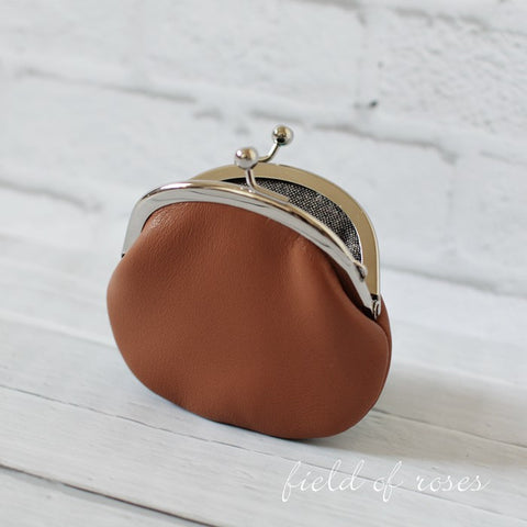 Small Leather Coin Purse Brown Round
