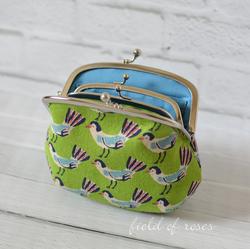 Mother and Daughter Frame Purse Kawaii Birds Green Double Frame Purse Wallet
