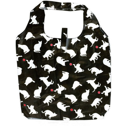 Reusable Grocery Bag Eco Friendly Market Bag Shopping Bag Cat Silhouette Black