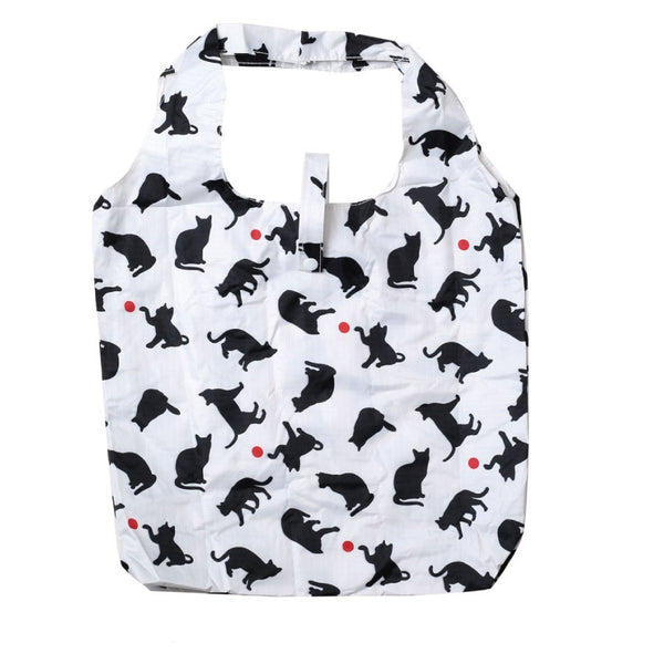 Reusable Grocery Bag Eco Friendly Market Bag Shopping Bag Cat Silhouette White