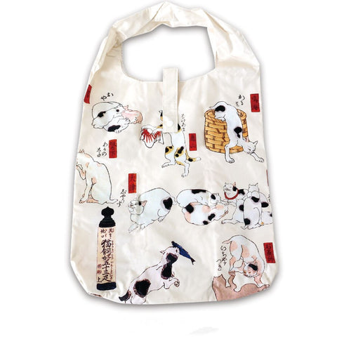Reusable Grocery Bag Eco Friendly Market Bag Shopping Bag Ukiyoe Cat Nekozukushi