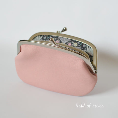 Women's Pale Pink Leather Wallet with Divider Coin Purse