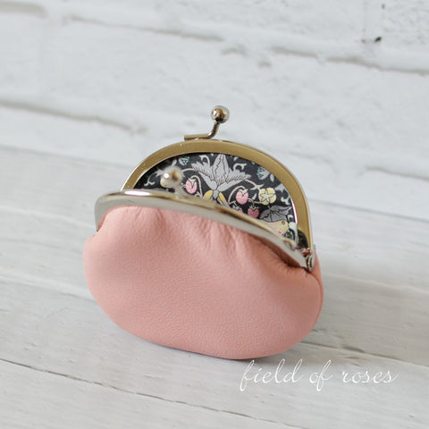 Small Leather Coin Purse Light Pink Round Handmade