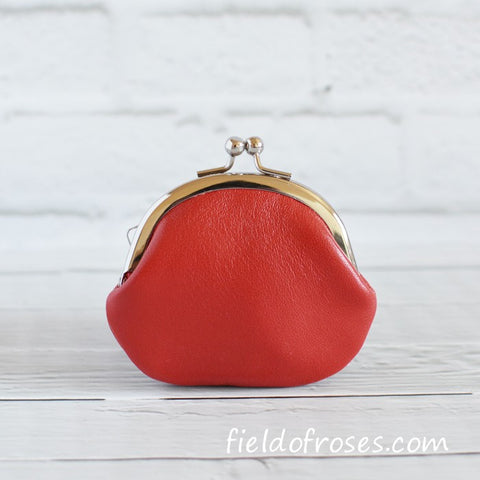 Small Leather Coin Purse Red Round