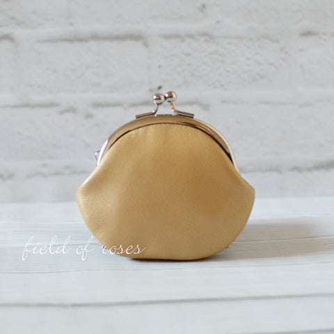 Small Leather Coin Purse Shimmery Gold Round