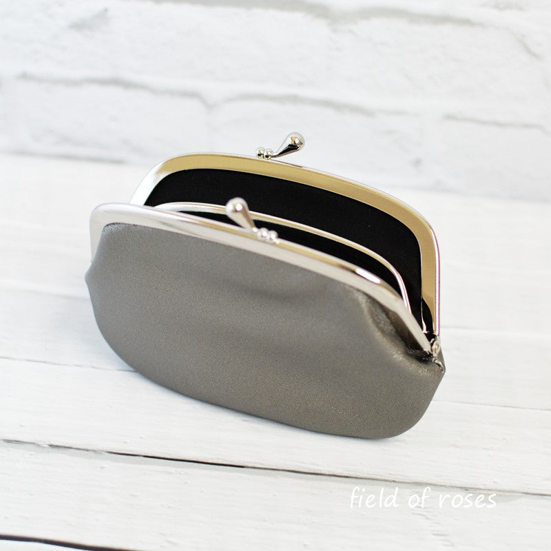 Women's Gunmetal Silver Leather Wallet with Divider Coin Purse Handmade