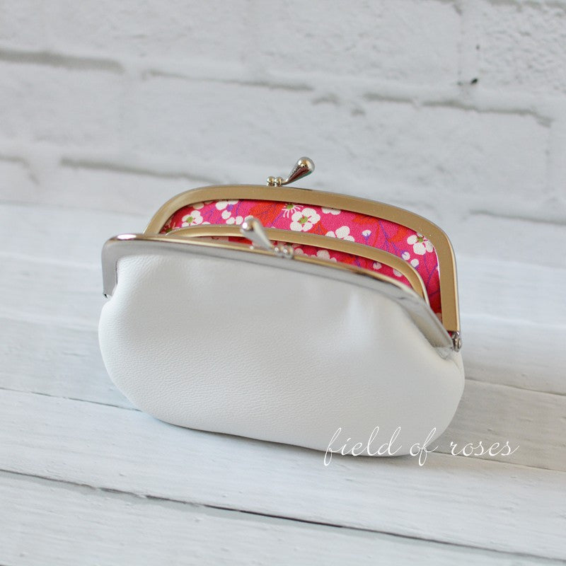 Women's White Leather Wallet with Divider Coin Purse
