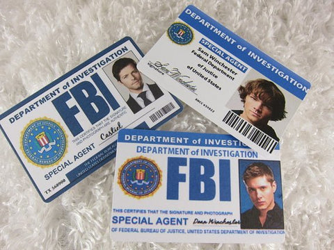 Set of 6, Supernatural Inspired FBI card, Sam, Dean, Castiel - Badge - Supernatural-Sickness