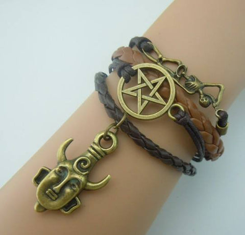 Supernatural - Deans Protection Amulet Leather Charm Bracelet (Free Shipping) - Bracelet - Supernatural-Sickness