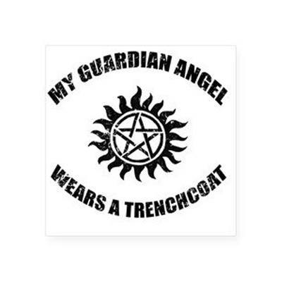 My Guardian Angel wears a Trenchcoat Anti-Possession decal - Decal - Supernatural-Sickness