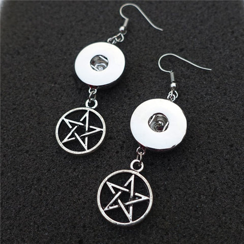Supernatural Silver Pentagram Earrings (Free Shipping) - Earrings - Supernatural-Sickness - 1