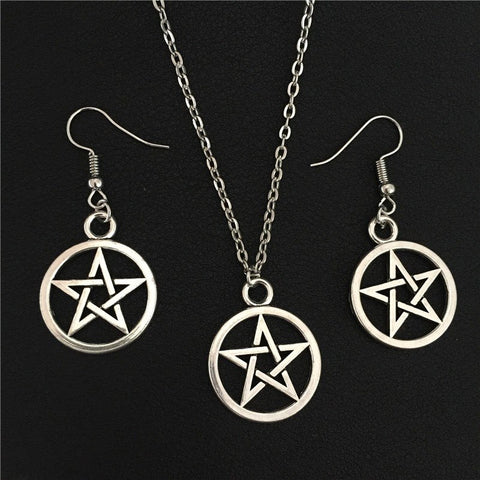 Jewelry - Supernatural Silver Pentagram Jewelry Set (Free Shipping)