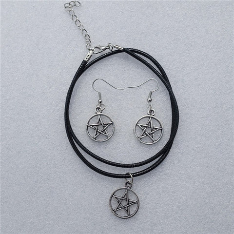 Supernatural Silver Pentagram Jewelry Set (Free Shipping) - Jewelry - Supernatural-Sickness - 1