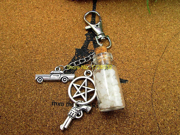 Supernatural Angel Wing Pentagram And Salt Bottle Key Chain (Free Shipping) - Keychain - Supernatural-Sickness - 2