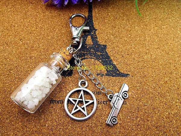 Supernatural Angel Wing Pentagram And Salt Bottle Key Chain (Free Shipping) - Keychain - Supernatural-Sickness - 3