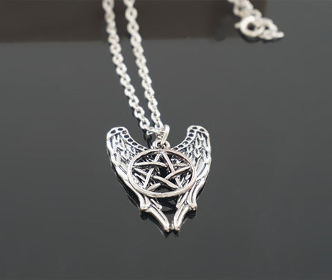 Angel Wings Pentagram Pendant Necklace (Free Shipping) - Necklace - Supernatural-Sickness - 1