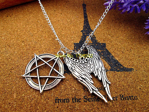 Angel Wings With Pentagram Necklace - Necklace - Supernatural-Sickness