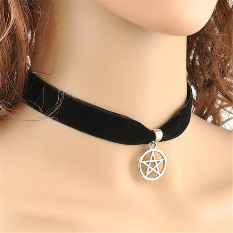 Black Velvet Pentagram Necklace (Free Shipping) - Necklace - Supernatural-Sickness - 1