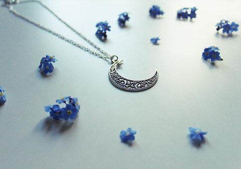Crescent Moon Necklace - Silver Plated - 63cm Long - Necklace - Supernatural-Sickness