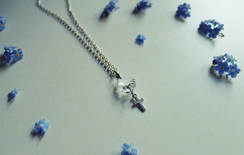 Cross Necklace With Round Crystal - Silver Plated - 43 cm - Necklace - Supernatural-Sickness