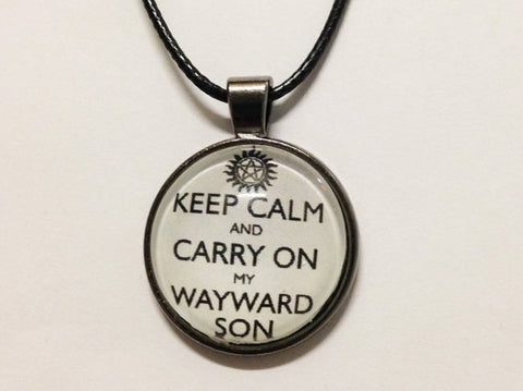 Supernatural jewelry supernatural sickness keep calm and carry on my wayward son necklace necklace supernatural aloadofball Gallery