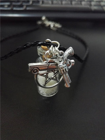 Salt Protection With Charms Leather Necklace - Necklace - Supernatural-Sickness