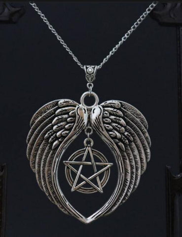 Necklace - Silver Pentagram With Angel Wings Necklace (Free Shipping)