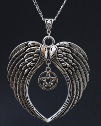 Silver Pentagram With Angel Wings Necklace (Free Shipping) - Necklace - Supernatural-Sickness