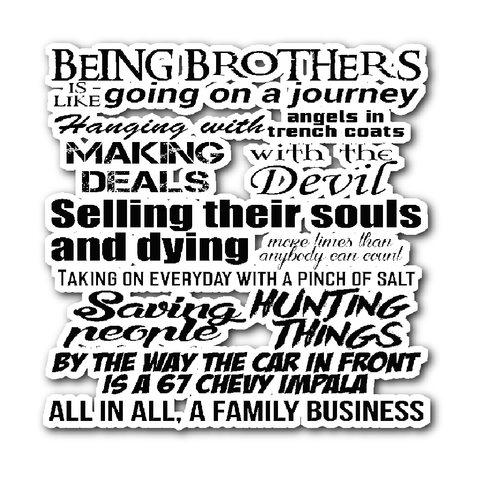 Being Brothers - Sticker - Stickers - Supernatural-Sickness
