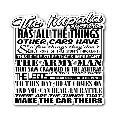 The Impala Has All The Things - Sticker - Stickers - Supernatural-Sickness