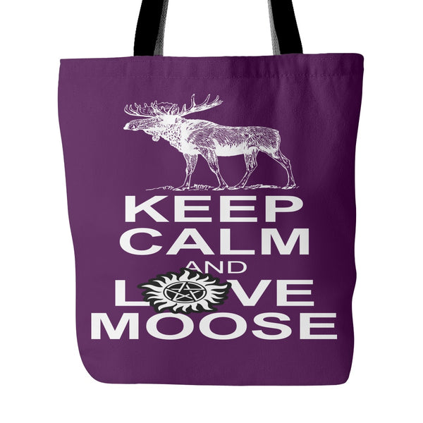 Keep Calm And Love Moose Totebag - Tote Bags - Supernatural-Sickness - 4