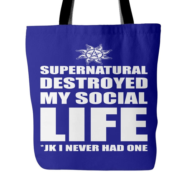Supernatural Destroyed My Social Life - Totebag - Tote Bags - Supernatural-Sickness - 3