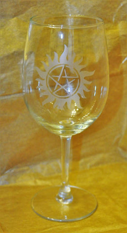 Supernatural Etched Wine Glass - Wine Glass - Supernatural-Sickness - 1