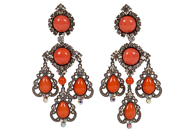 Vrba Coral Rhinestone Drop Earrings
