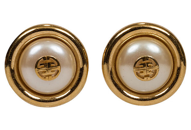 Givenchy Faux-Pearl Button Earrings - Givenchy - Vintage Lux
