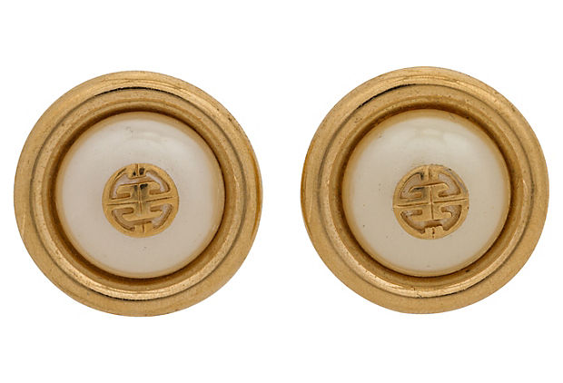 Givenchy Faux-Pearl Button Earrings