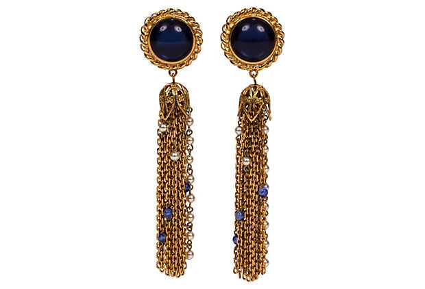 Carven Goldtone Chain Drop Earrings - Carven - Vintage Lux