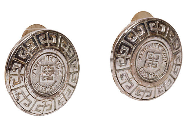 Givenchy Silver-Plated Logo Earrings