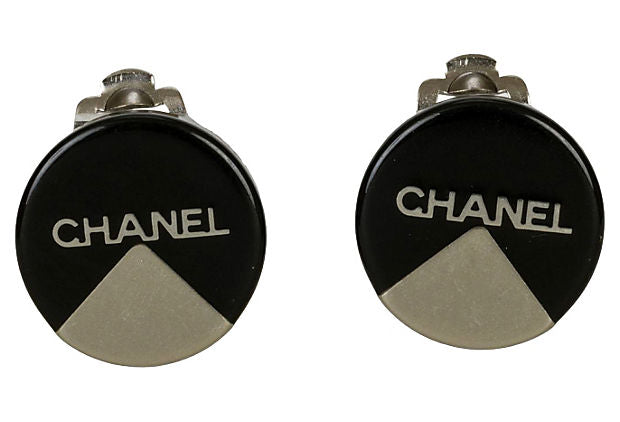 Chanel Black & Silver Round Earrings