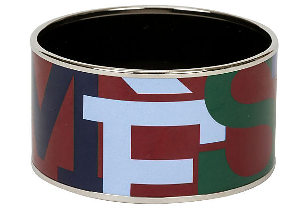 Hermès Wide Enamel Geometric Bangle