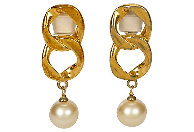 Chanel Chain Faux-Pearl Drop Earrings